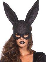 LEG-AVENUE - Zwart glitter konijnenmasker voor volwassenen - Maskers > Half maskers