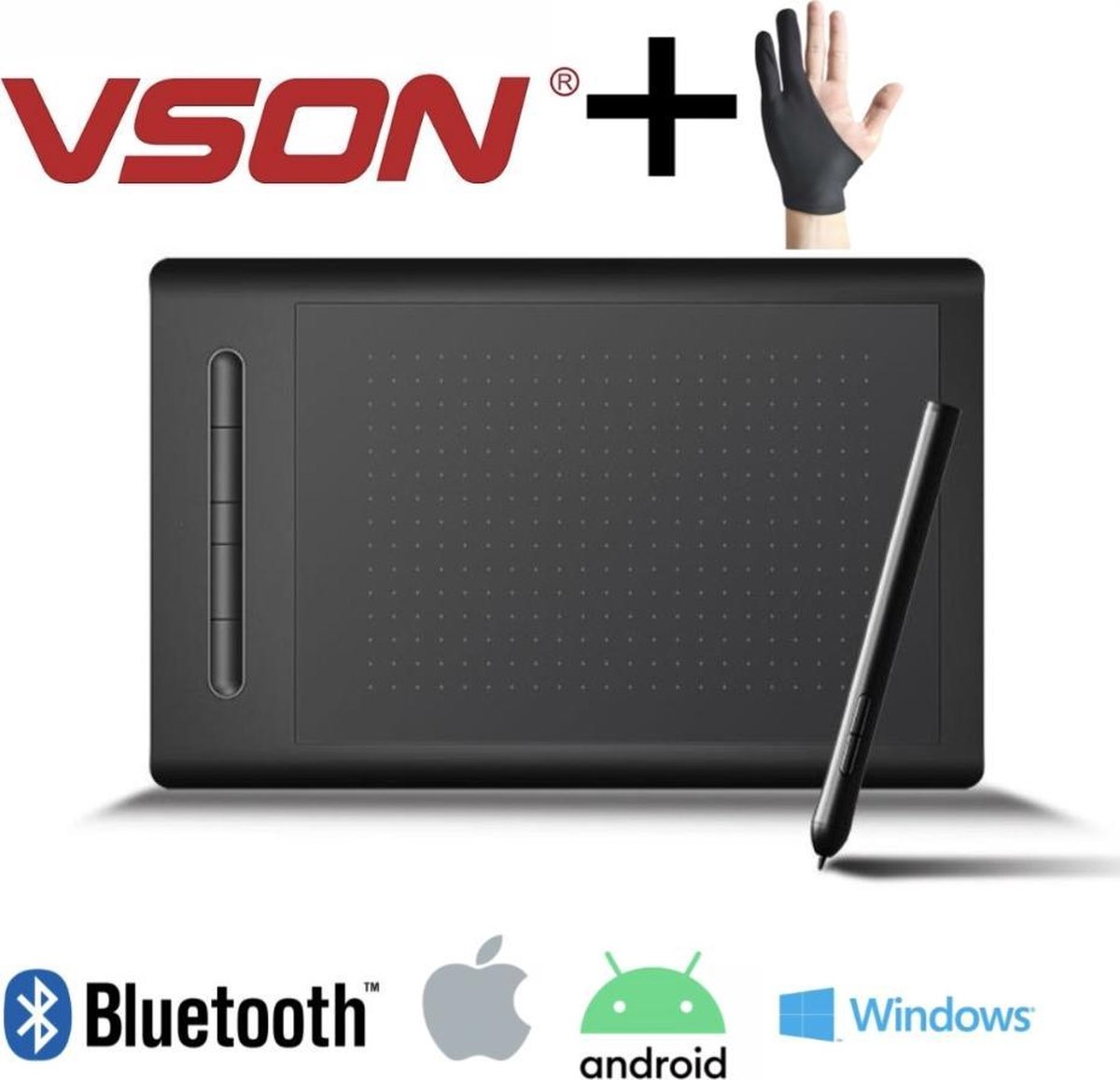 VSON® WP9628 - Grafische tekentablet - Bluetooth en USB - 360x230mm - Zwart