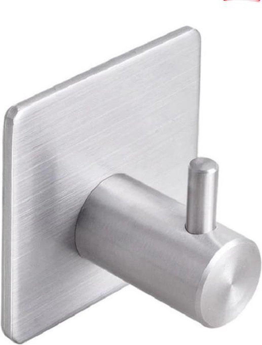 Zelfklevende Handdoekhaakjes - set van 4 + 1 gratis - Zilver gekleurd - Voor Badkamer of Keuken |handdoekhaakjes rvs | handdoekhaakjes zilver zelfklevend | handdoekhaak zilver| handdoekhaakjes zelfklevend rvs | Theedoekhaakjes Zilver