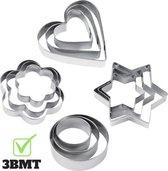 3BMT - Uitsteekvormen koekjes - set van 12 - bloem, hart, rond en ster