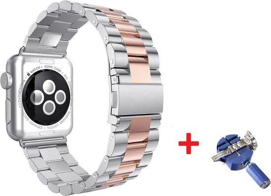 Luxe Metalen Armband Voor Apple Watch Series 1/2/3/4/5/6/SE 38/40 mm Horloge Bandje - iWatch Schakel Polsband Strap RVS - Met Horlogeband Inkorter - Stainless Steel Watch Band - One-Size - Rosegoud/Zilver Kleurig