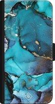 iPhone 12 bookcase leer hoesje - Marmer indigo blauw