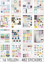 Joyage Bullet journal stickers Deluxe - 482 stickers - Planner stickers voor agenda - Bullet journal producten - Stickers volwassenen - Kado vrouwen - Bullet journal accesoires