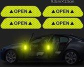 Reflecterende stickers - 4 STUKS - Auto reflecterende deur sticker - Waarschuwing Tape - Reflecterende Strips - Veiligheid - Reflecterende strips voor fiets - Glow in the dark strips - Nacht strips veiligheid - Autoaccessoires - Citroen geel - Safe