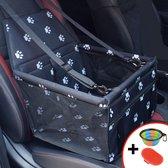 Autostoel hond - opvouwbaar honden zitje - Dieren zitje voor in de auto - Hondenmand - Incl Gratis opvouwbaar voerbakje en borstel - Veiligheidsband - Schone auto -