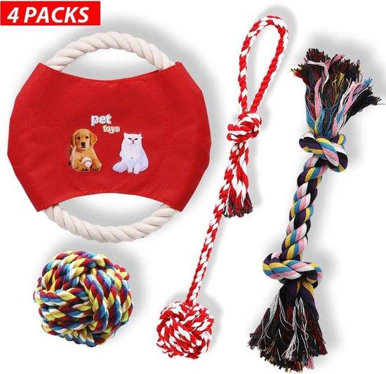 Hondenspeelgoed set van 4 stuks | Frisbee | Flostouw | Trektouw | Speelbal | Knuffel | Geschikt voor alle honden | Puppy | Kleine hond | Grote hond | Speelgoed hondje | Hondenspeeltjes intelligentie | Honden speelgoed interactief | AAA Kwaliteit |