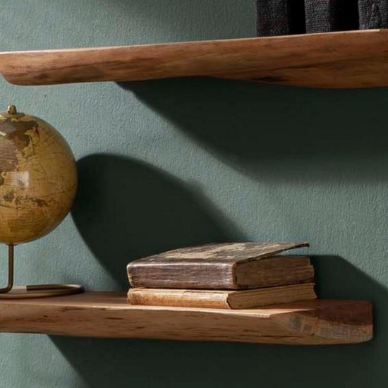 DS4U® woody wandplank set van drie - industriele wandplank - boomstam plank - edge - per 3