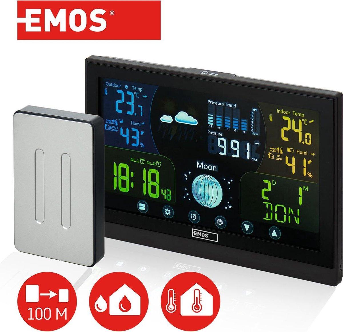 Emos draadloos weerstation met touchscreen kleurendisplay, incl. Buitensensor, DCF-ontvangstsignaal