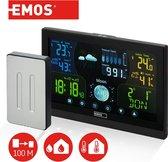 Emos draadloos weerstation met touchscreen kleurendisplay, incl. Buitensensor, DCF-ontvangstsignaal radioklok - binnen- en buitentemperatuur, barometer, weersvoorspelling