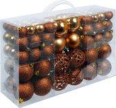 Kerstboomballen kunststof kleur Brons set van 100 stuks
