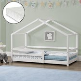 Kinderbed Knätten grenen huisbed met matras 90x200 cm wit