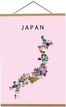 Kaart van Japan   B2 poster   50x70 cm   Roze   Maison Maps