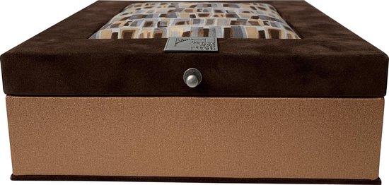 The Box For Tea Donker Bruine Koper Theedoos Met Thee Cadeau - 9 vaks - Bruin