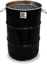 BarrelQ - Small industrieel houtskool Barbecue- BBQ vuurkorf en statafel in één 60L olievat zwart