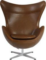 Stoere design egg chair in vintage cognac look wax pu bekleding
