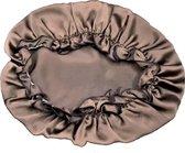 YOSMO - Zijden bonnet - slaapmuts - kleur bruin - 100% zijde - Moerbei