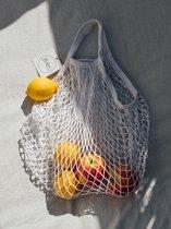 Nettas - boodschappen tas - net - katoen - naturel - herbruikbaar - eco - fruittas - mesh - Nettasje/Franse boodschappentas wit