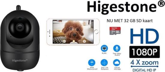 Hardloper - Huisdiercamera - Hondencamera - Met 32 GB SD Kaart- 2-Weg Audio - WiFi - Beweeg En Geluidsdetectie - Nachtvisie - Hondencamera Beelden Op Telefoon- Hondencamera Met App - Smart Camera - Opslag In Cloud Of SD -IP Camera - Zwart - Higestone