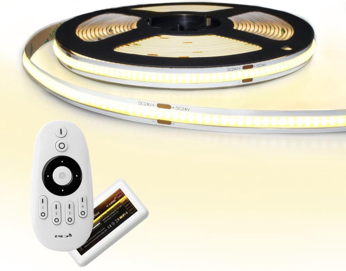 5 meter Warm Wit led strip COB met 384 leds per meter - complete set