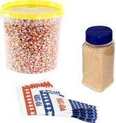 Popcornmais zoet startpakket 1 KG popcorn mais, popcorn suiker en puntzakjes