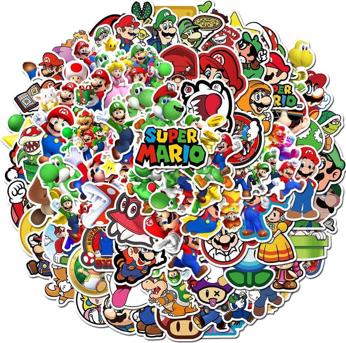 100 Super Mario stickers - Yoshi, Peach, Luigi - Voor laptop/nintendo/muur/agenda etc.