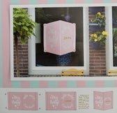 Geboortebord - Raambord - Geboorte - Meisje - Girl - Roze - Raamdecoratie - Baby Geboren - 20 x 28 cm - Inclusief Letter Stickers en Zuignappen