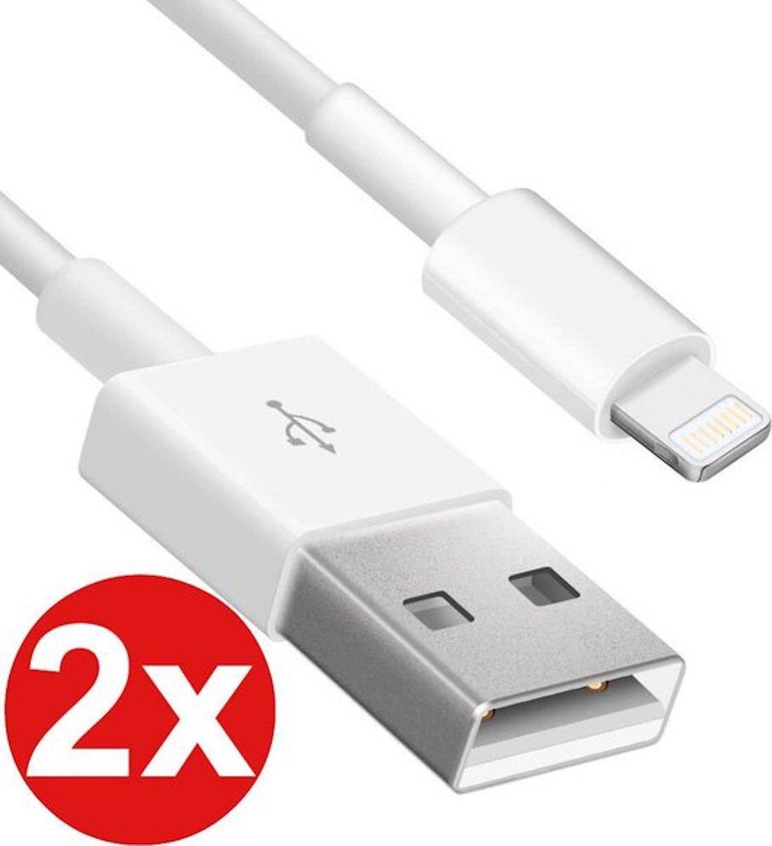 2 stuks USB oplaadkabels Apple iPhone iPad oplader + Tijdelijk Gratis 2 kabelbeschermers (1 Zwart en