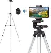Varin® Telefoon statief 150 cm - 2 stuks telefoonhouders - Bluetooth remote shutter - opbergtas - lichtgewicht tripod  - smartphone en camera statief