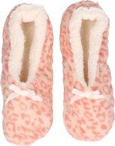 Roze panterprint/luipaardprint ballerina pantoffels/sloffen voor dames - Dierenprint huissloffen voor vrouwen 37-39
