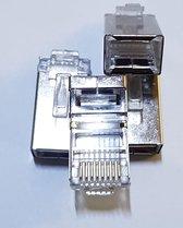TeleBeni 10 X Afgeschermde UTP netwerk connector RJ45 stekker krimpconnector