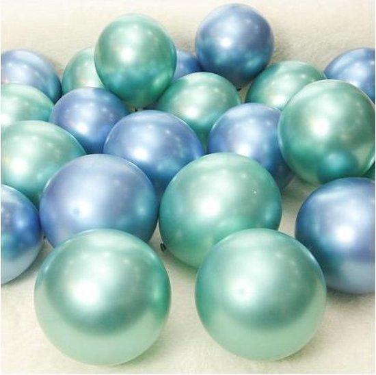 Blauw en Groen -  Kleine Ballonnen (5 inch.)   10 stuks   Baby Shower - Kraamfeest - Verjaardag - Geboorte - Fotoshoot - Wedding - Marriage - Birthday - Party - Feest - Event - Jubileum - Valentijn - Huwelijk