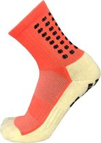 Gripsokken voetbal oranje - sportsokken - grip - one size - anti blaren - compressie - prestatieverhogend - tennis - hardlopen - handbal - sporten - fitness