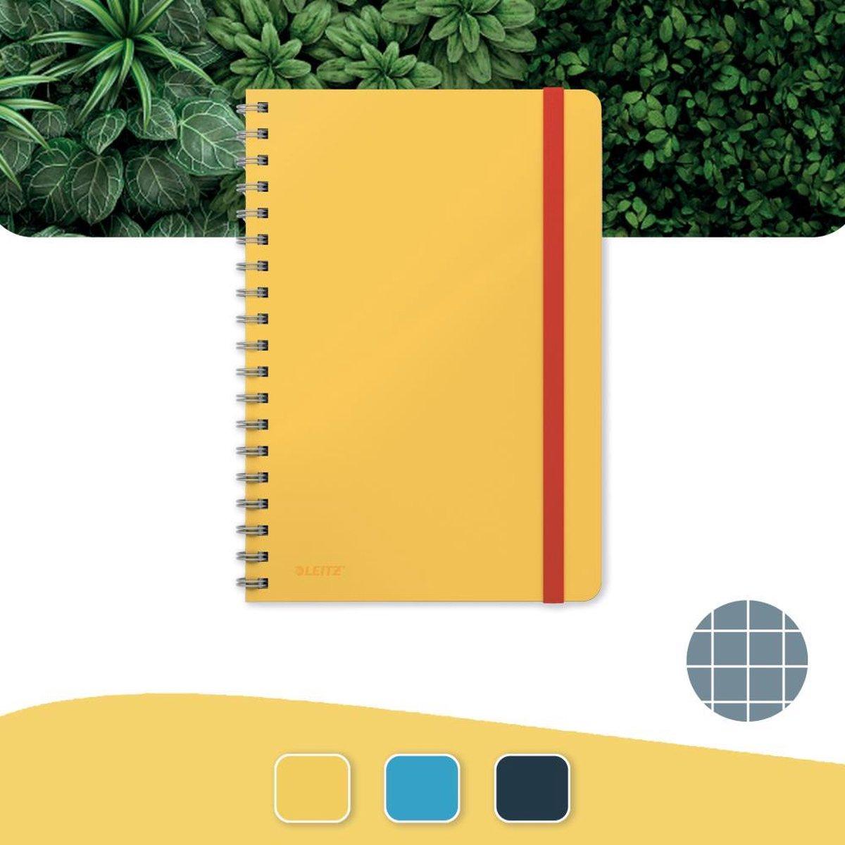 Leitz Cosy Notitieboek B5 Soft Touch Geruit - Notitieboek Hard Cover - Spiraalgebonden - Voor Kantoor En Thuiswerken - Warm Geel - Ideaal Voor Thuiskantoor