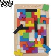Montessori Speelgoed Tangram Vormen Puzzel - Houten Speelgoed Tetris Spel - Educatief Puzzel voor Ruimtelijk Inzicht - WoodyDoody