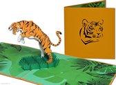 Popcards popupkaarten – Dierenkaart Springende Tijger Oerwoud Jungle Dierentuin pop-up kaart 3D wenskaart