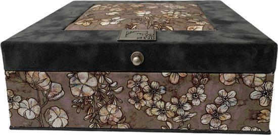 The Box For Tea Grijs Taupe Katoenplant Theedoos met Thee Cadeau - 9 vaks - Grijs