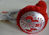 Zilverkleur-rood oorwarmers van Minnie Mouse