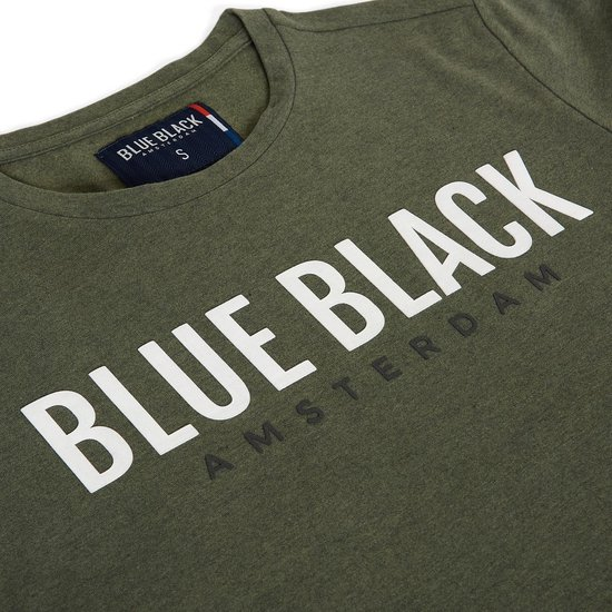 Blue Black Amsterdam Heren T-shirt Tony - Groen Melange - Maat M