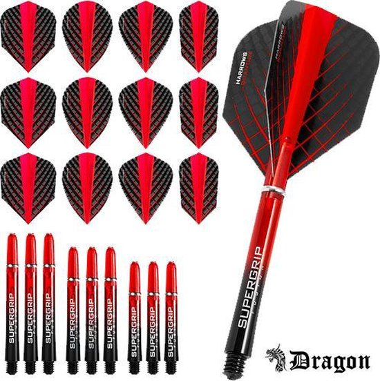 Dragon Darts – Harrows - Combi kit – Quantum – 3 sets darts shafts – 4 sets darts flights - Rood