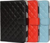 Designer Book Cover Case Hoes voor Icarus Omnia G2 M701bk met ruitmotief, rood , merk i12Cover