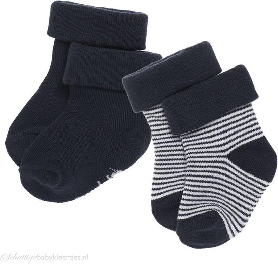 Noppies Jongen Socks 2pck Guzz - Navy - Maat 0-3 mnd - Noppies