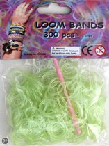 Bandjes Loom Bands 300 stuks: glitter groen (37155)