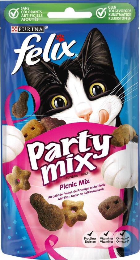 Felix Party Mix - Kattensnacks Picnic Mix - 8 x 60 g