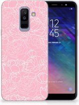 Samsung Galaxy A6 Plus (2018) TPU Siliconen Hoesje Design White Flowers
