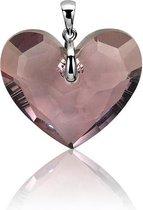 Zinzi zilveren hart hanger Swarovski rood ZIH860R