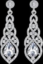 Victorious Zilver Druppel Zirkonia Kristal Oorbellen – Dames Oorbellen – 6cm