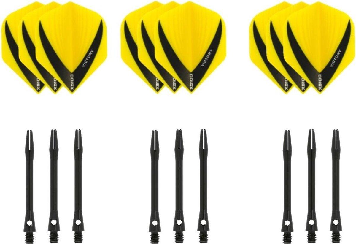Dragon darts - 3 sets - XS100 Vista - Geel - Darts flights - plus 3 sets - aluminium - darts shafts - zwart - medium