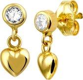 Lucardi 14 Karaat Gouden Kinderoorbellen - Hart Emaille