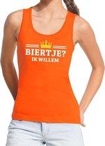 Oranje Biertje ik willem tanktop / mouwloos shirt dames - Oranje Koningsdag kleding S
