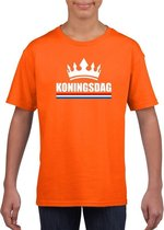 Oranje Koningsdag met een kroon shirt kinderen S (122-128)
